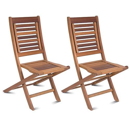 Milano FSC Eucalyptus Wood Folding Chairs, Set of 2