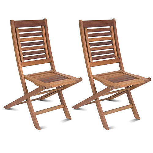 Milano FSC Eucalyptus Wood Folding Chairs, Set of 2