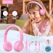 Kids Headphone for Girls in-line Controls Headphones, Foldable Headsets with Microphone 85dB/94dB Volume Limited for School Tablet/Computer/Cell Phone (Pink)