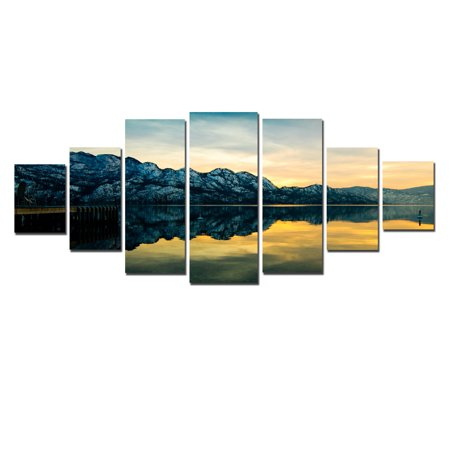 Startonight Huge Canvas Wall Art Mirror Lake, USA Large Home Decor, Dual View Surprise Artwork Modern Framed Wall Art Set of 7 Panels Total 39.37 x 94.49 - Huge Wall Decor