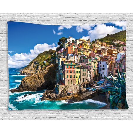 Farm House Decor Tapestry, Italian Mediterranean House by Cliffs Dramatic Weather Sea Cinque Terre Print, Wall Hanging for Bedroom Living Room Dorm Decor, 60W X 40L Inches, Multi, by