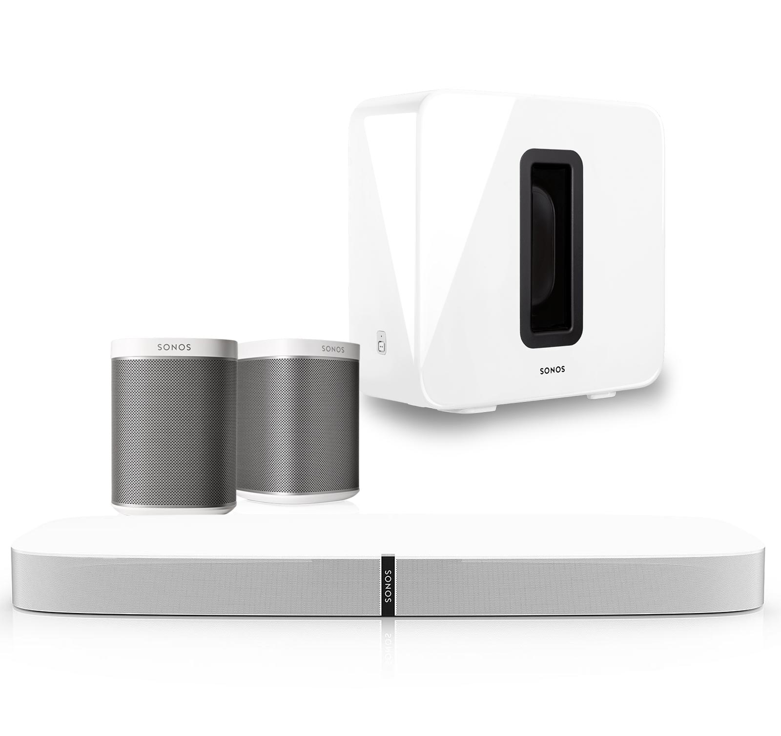 Sonos PLAYBASE Home Theater Set with PLAY:1 Speakers & SUB Wireless Subwoofer
