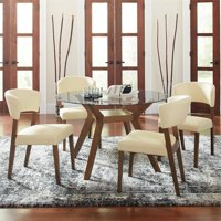 Coaster Paxton 5 Piece Round Glass Top Dining Set in Nutmeg and Cream