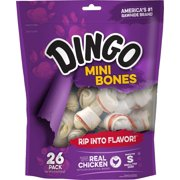Dingo Mini Bones Dog Chews Made with Real Chicken, 26-Count