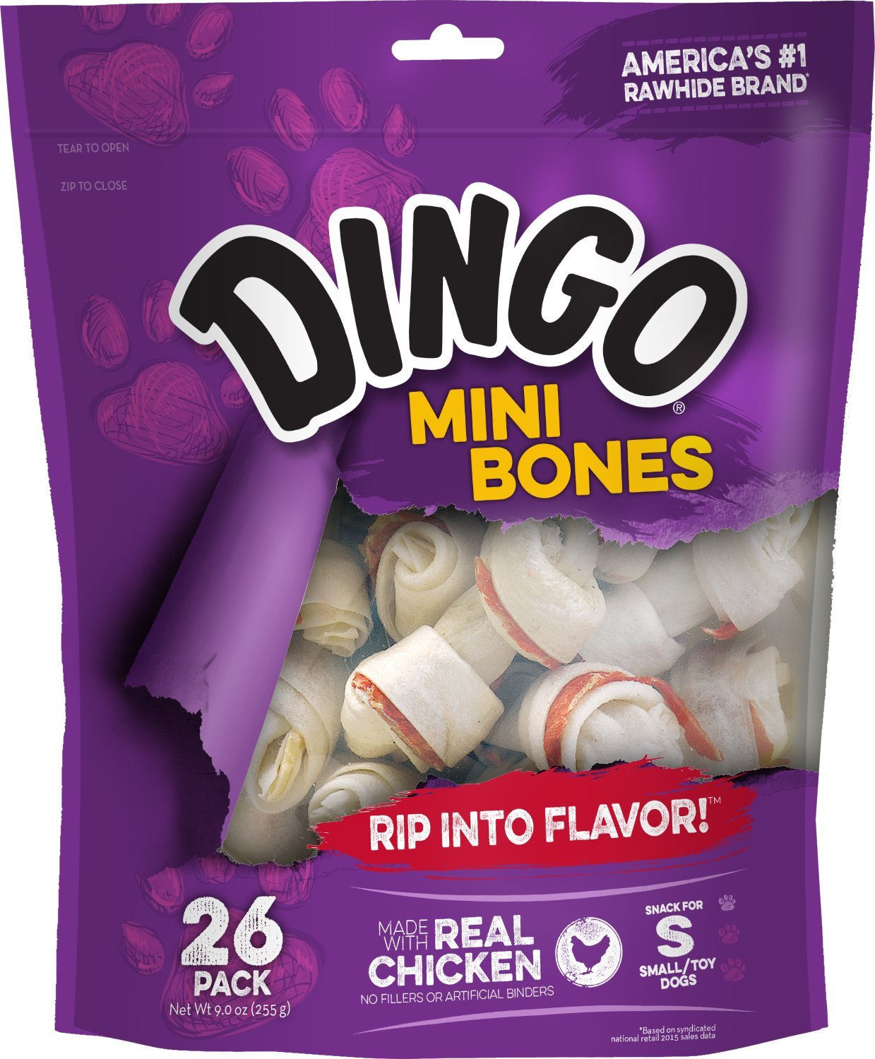 Dingo Mini Bones Rawhide Chews Dogs With Real Chicken, 26 Count