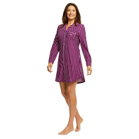 Gloria Vanderbilt Women's Button-Down Sleep Shirt   Stylish Striped Pajama Top M - image 5 of 7