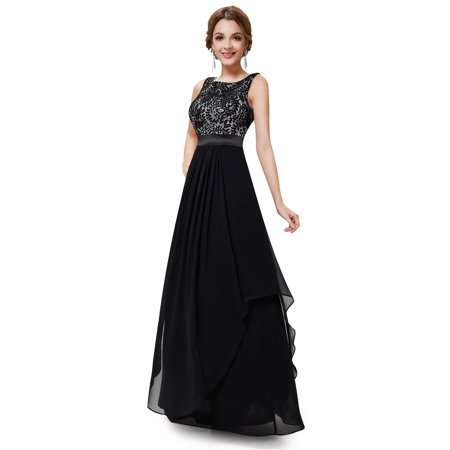 bb939e1309601 Ever-Pretty - Ever-Pretty Women s Elegant Empire Waist Lace Flowy Black Tie  Evening Prom Party Cocktail Ball Gown for Women 08217 Black US 8 -  Walmart.com