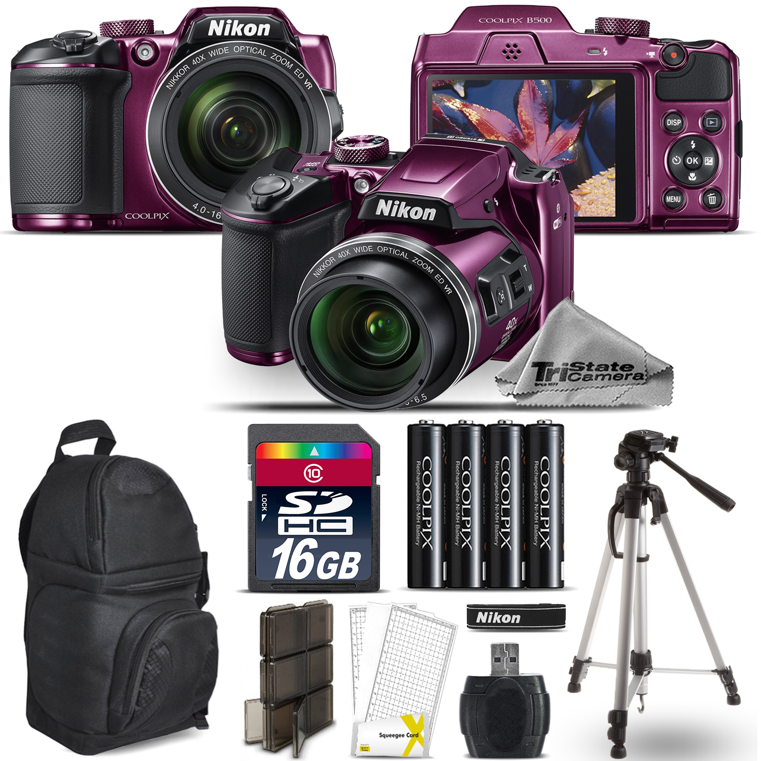 Nikon COOLPIX B500 Plum Camera 40x Optical Zoom + Tripod + Backpack - 16GB Kit
