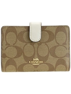 Coach Signature PVC Medium Corner Zip Wallet, Khaki/Chalk