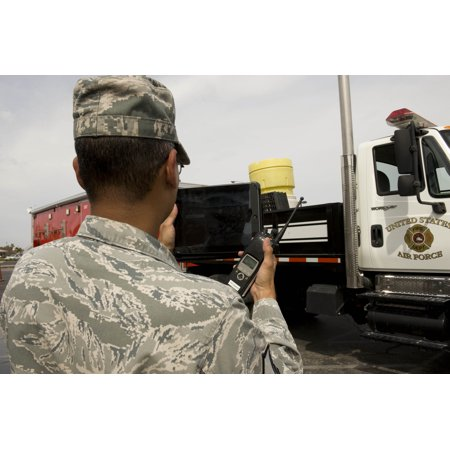 Video Feed - Canvas Print U.S. Air Force Master Sgt. Wendell Ramclam, 99th Civil Engineer Squadron, displays a live video feed Stretched Canvas 10 x 14