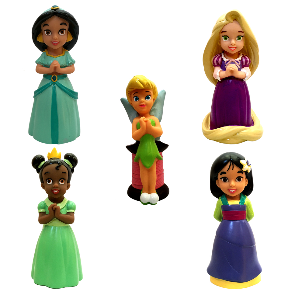 Disney Parks Princess Pool Bath Toys Including Tinkerbell, Tiana, Rapunzel, Mulan, and Jasmine by Disney