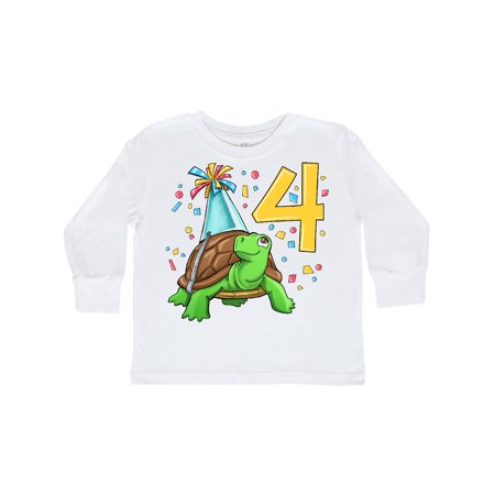 4th Birthday Cute Turtle in Party Hat with Confetti Toddler Long Sleeve T-Shirt