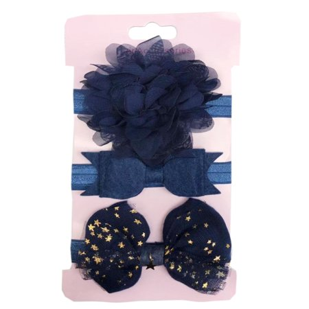 Baby Princess Little Girls Shabby Flower Bow Assorted Styles Hair Accessories Headband 3pcs Set (Navy) - Baby Flower Headband