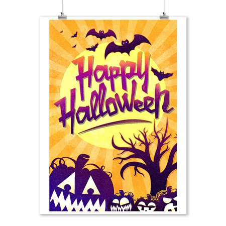 Happy Halloween - Bats & Pumpkins - Lantern Press Artwork (9x12 Art Print, Wall Decor Travel Poster) - Happy Halloween Artwork