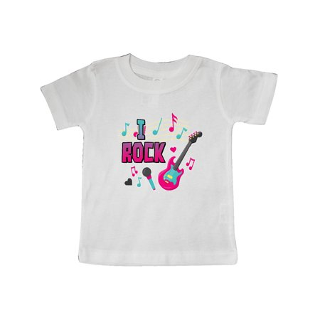 I Rock with Guitar Microphone and Music Notes Baby T-Shirt