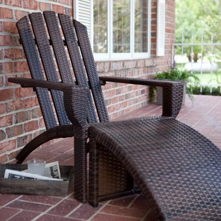 Bayside All Weather Wicker Adirondack Chair Amp Ottoman Set