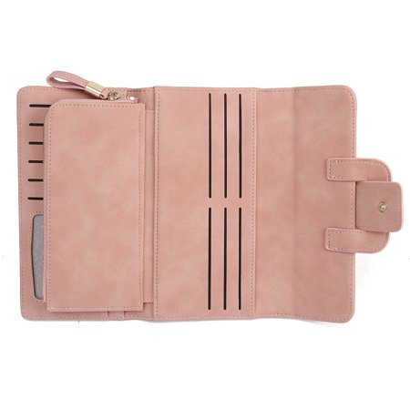 Women Fashion PU Leather Phone Wallet Bag Trifold Button handBag Card Holder for for under 5inch Cellphone - image 4 de 9