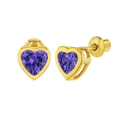 18k Gold Plated CZ Heart Bezel Screw Back Toddler Girls Kids Earrings 5mm