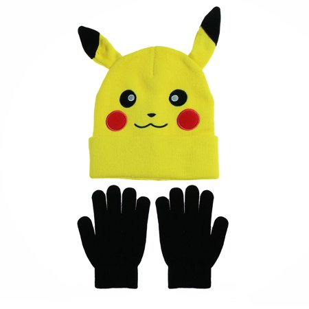 BIOWORLD - Pokemon Pikachu Character Winter Beanie Hat and Glove Set Yellow  Size 4-16 - Walmart.com ed3771c10a3