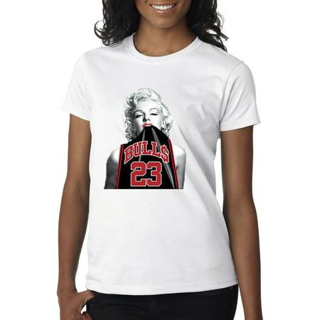 0063dd99054 Trendy USA - Trendy USA 420 - Women's T-Shirt Marilyn Monroe Bulls 23  Michael Jordan Jersey Medium White - Walmart.com