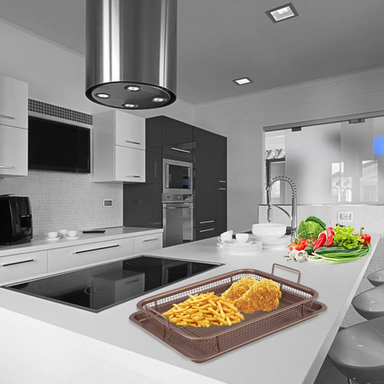 13 Inch Food Copper Plated Crisper Tray Cook Innovations Oven Crisper Basket Ensures Crisp Food Every Time by YKS