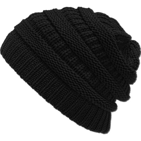 Chunky Knit Slouchy Beanie Oversize Thick Cap Hat Unisex Womens CC C.C. Beanies Trendy Classic Cable Winter Fall Warm