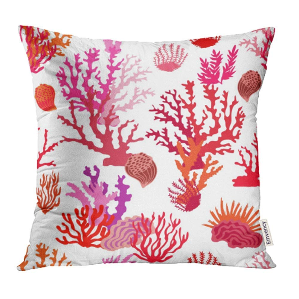 USART Magic Undersea World Pattern with Colorful Corals Beach Collection Red Pink on White Pillow Case Pillow Cover 18x18 inch Throw Pillow Covers