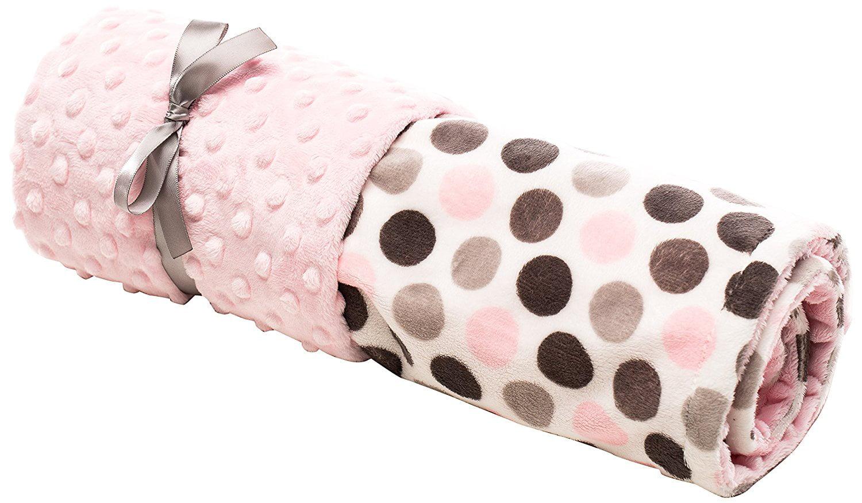 Elonka Nichole Baby Girl Jumbo Dot Original Mimi Receiving Blanket, Pink Grey, 35' X 29' by Elonka Nichole