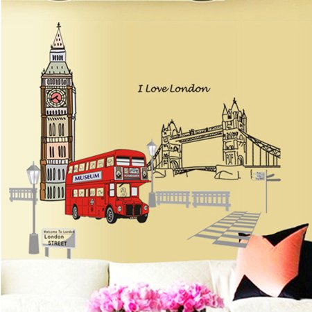 Wall Decals DIY London Style, Home Inspira Art Murals Wall Decals Removable Vinyl Wall Decor London Big Ben Bus Bridge Street For Office Kids Living Room Bedroom Kitchen Wallpaper(24x36Inch)