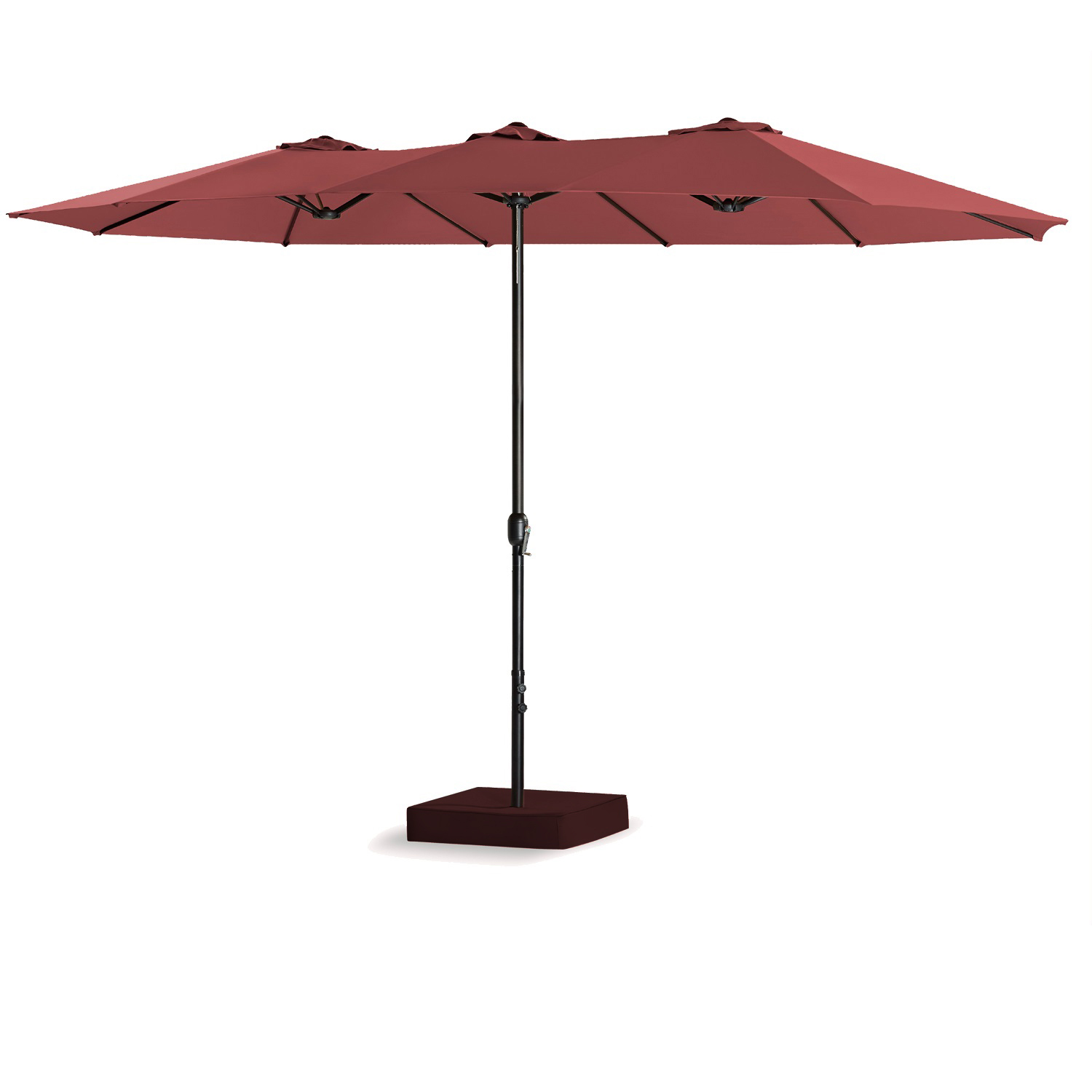 15 Ft Double-Sided Outdoor Market Umbrella 12 Ribs, Crank System, 100% Polyester, Base Included (Beige) by