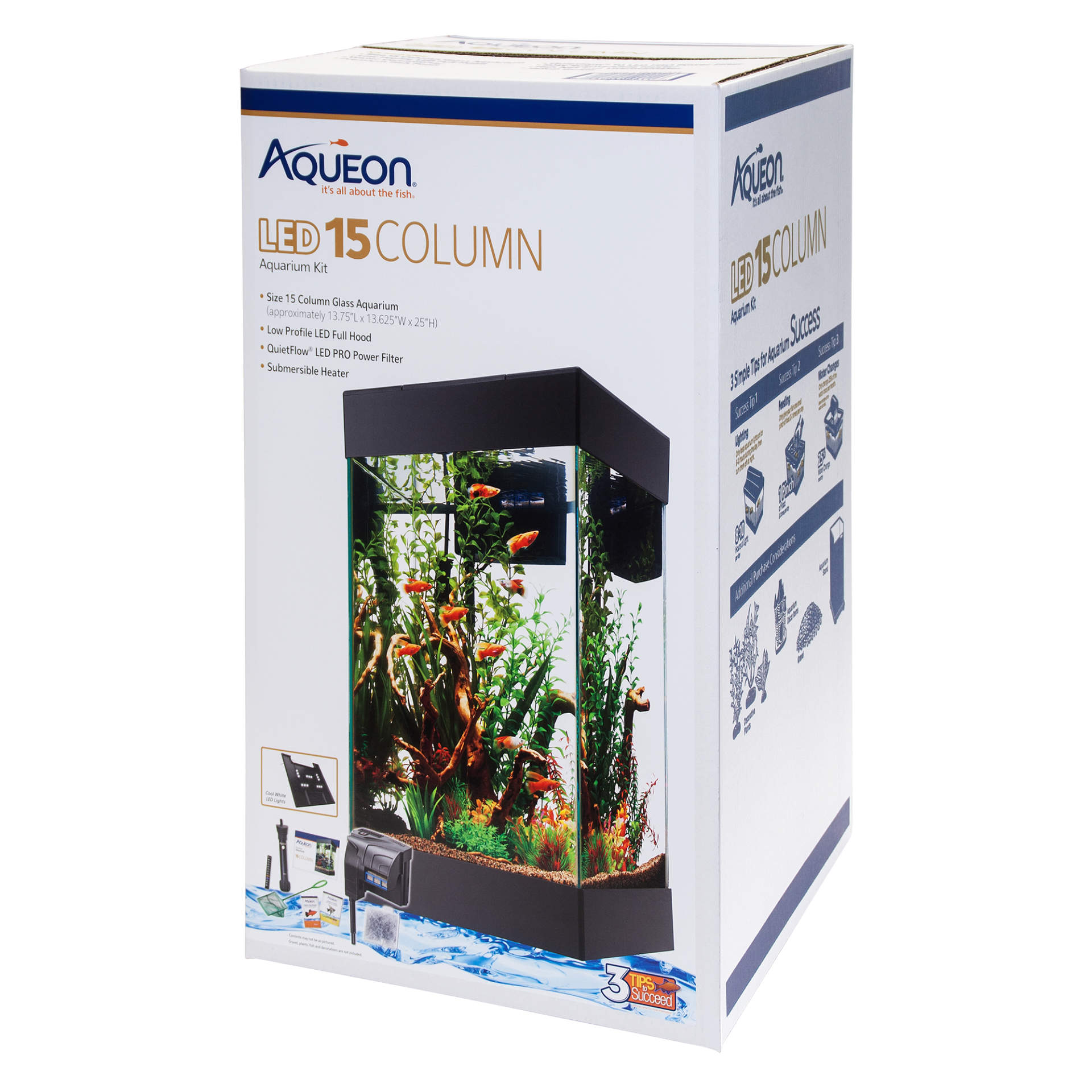 Aqueon LED Aquarium Starter Kit Column Black 15 Gallon by CENTRAL AQUATICS