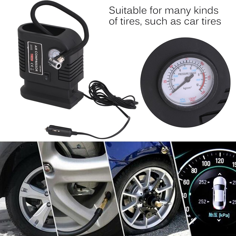 Portable Auto Vehicle Air Compressor Pump Tire 12V And 3 Adapter Electric Inflatable Inflating Pump Tire Tyre Inflator