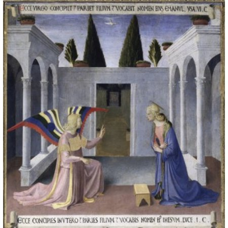 The Annunciation  Detail from the Story of the Life of Christ  Fra Angelico (ca 1400-1455Italian) Museo di San Marco Florence Canvas Art - Fra Angelico (18 x 24) - City Of San Marcos Ca