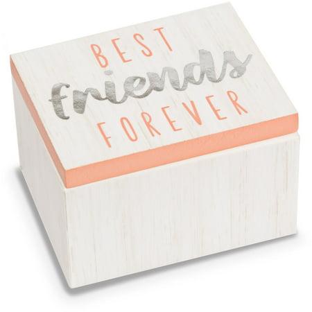 Pavilion - Best Friends Forever - Pink & White Wood Patterned Mini Keepsake Jewelry Box 2.25