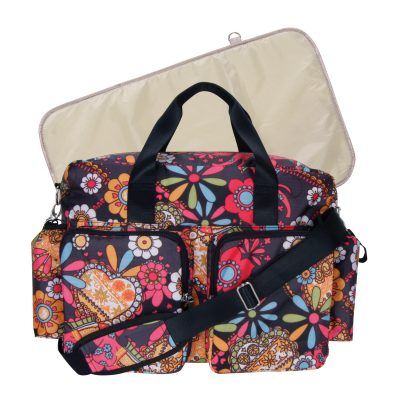 Trend Lab Deluxe Duffle Diaper Bag with Changing Pad, Bohemian Floral