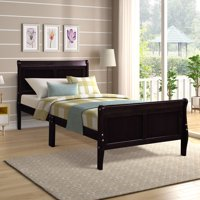 Espresso Wood Bed Frame for Twin Size, Modern Platform Bed Frame with Headboard and Footboard, Bed Mattress Foundation Sleigh Bed with Soild Wood Slat Support for Adults Teens Children, Easy Assembly