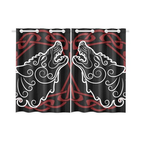 MKHERT Wolf On Celtic Style Window Curtains Kitchen Curtain Room Bedroom Drapes Curtains 26x39 inch, 2 Piece