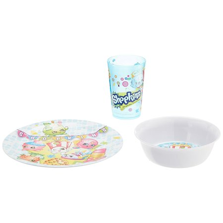 Zak! Designs Mealtime Set with Plate, Bowl and Tumbler featuring Shopkins Graphics, Break-resistant and BPA-free Plastic, 3-Piece Set, Durable materials last wash.., By Zak Designs