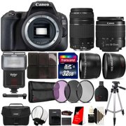 Canon EOS Rebel 200D / SL2 24.2MP Digital SLR Camera Black with 18-55mm and 75-300mm Double Lens All You Need Bundle