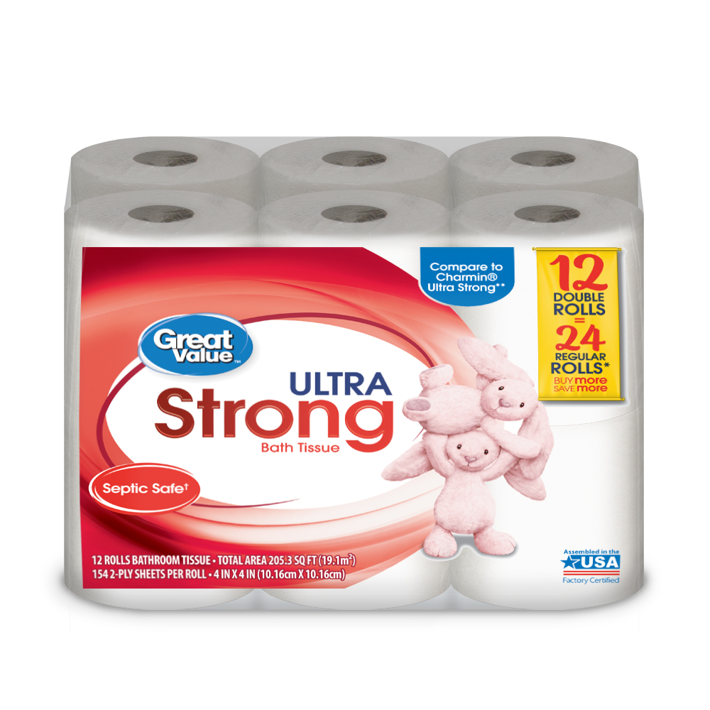 Great Value Ultra Strong Toilet Paper, 12 Double Rolls