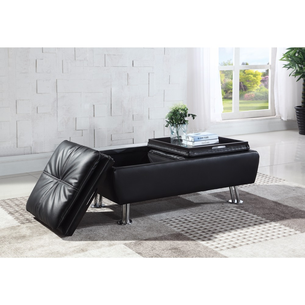 Faux Leather Storage Ottoman With Reversible Tray Tops