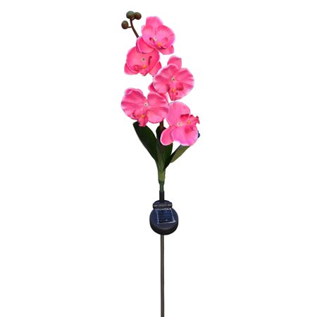 Waterproof Solar Powered 4 LED Garden Light Yard Path Landscape Flower Artificial Butterfly orchid flowers Driveway Christmas Party Wedding , pink - 1960 Flower Power Fashion