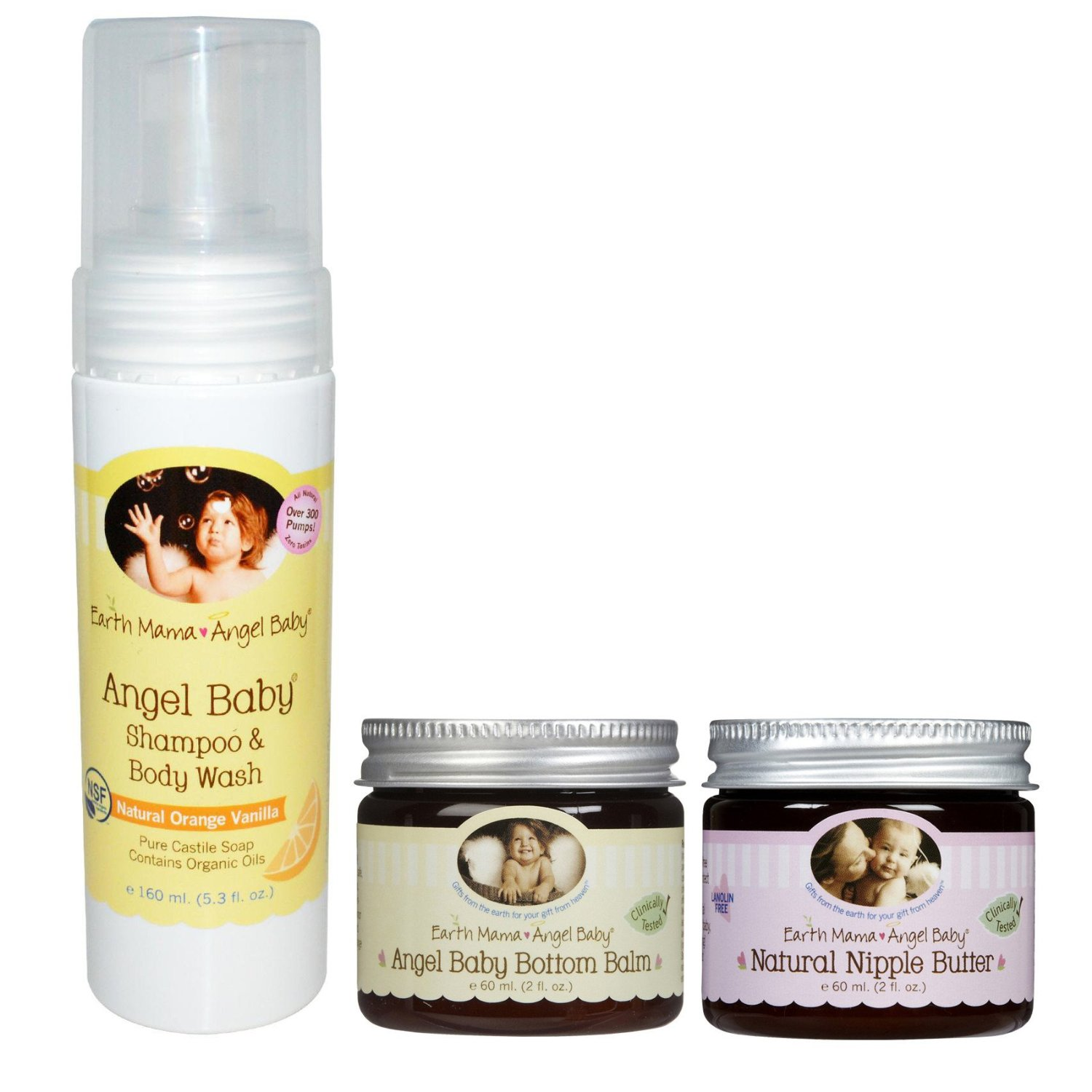 Earth Mama Angel Baby Shampoo and Body Wash with Bottom Balm & Nipple Butter by Earth Mama