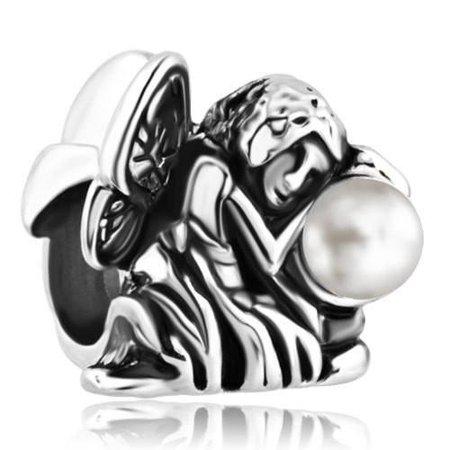 Guardian Angel Prayer Protect Me Charm Beads Fit Pandora Charms Bracelet for Women for Girls (Bead Bracelet)
