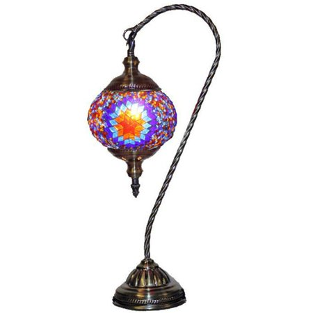 Silver Fever Handcrafted Mosaic Turkish Lamp -Moroccan Glass - Table Desk Bedside Light- Bronze Base (Red Yellow Starburst Latter) - Starburst Reds
