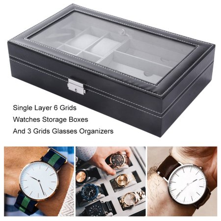 Single Layer 6 Grids Watches Storage Boxes And 3 Grids Glasses Organizers - image 3 of 12