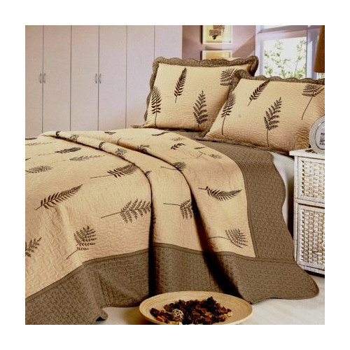 Home Sensation Leaf Embroidery Microfiber 3 Piece Quilt Set
