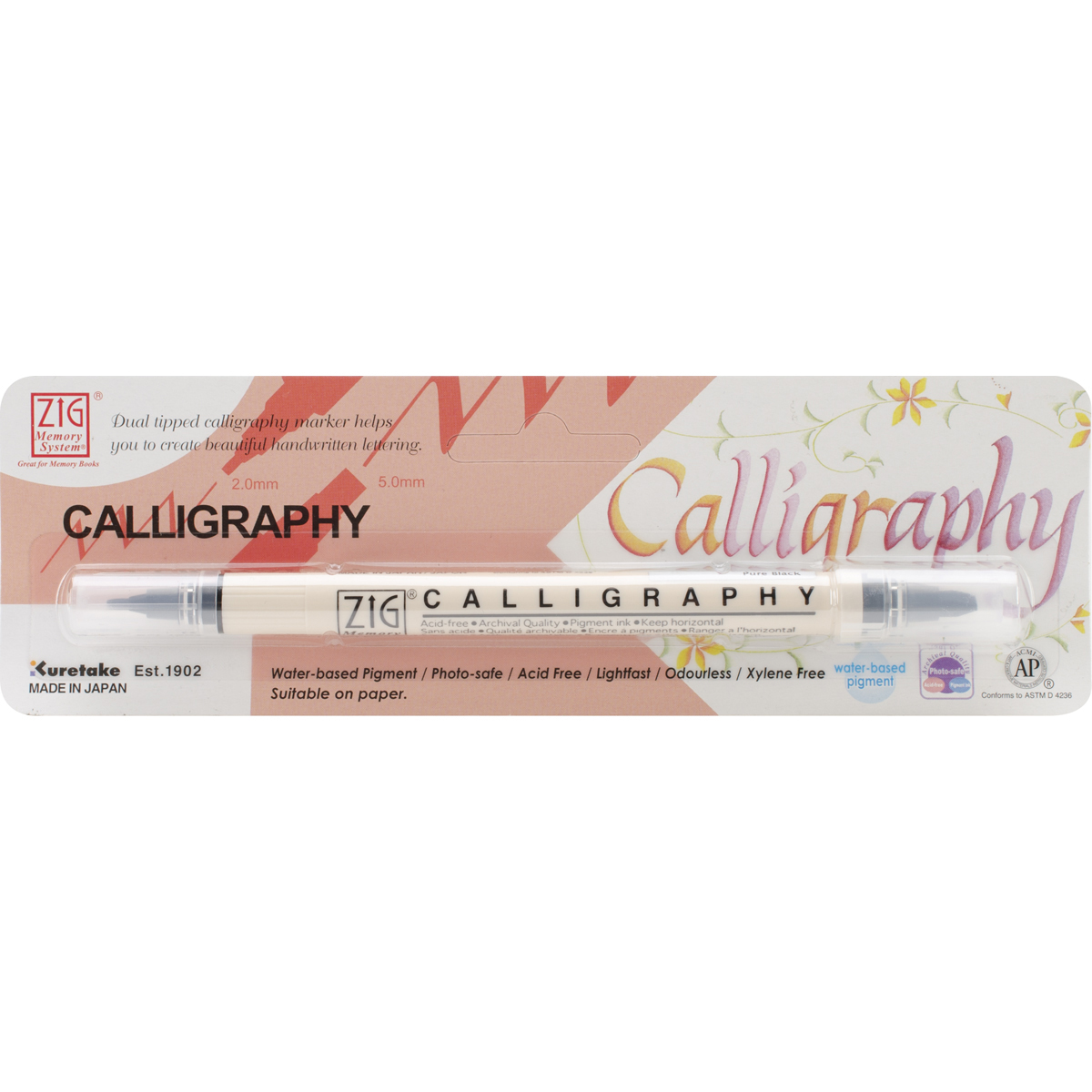 Zig Memory System Calligraphy Dual-Tip Marker (Packaged)-Pure Black - image 2 of 2