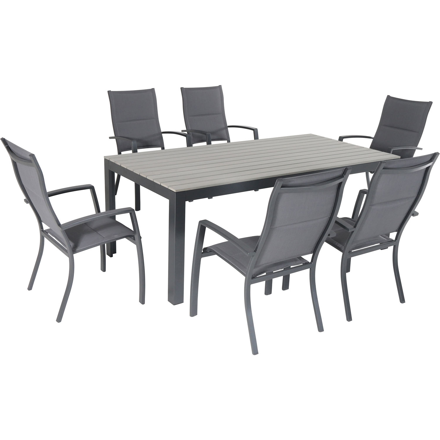 Hanover Tucson 7-Piece Dining Set with 6 Padded Sling Chairs and a Faux Wood Dining Table
