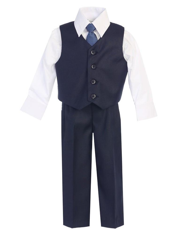 Big Boys Navy Vest Pants Special Occasion Outfit Set 8